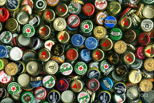 Kitsch Poster featuring the photograph Pile Of Beer Bottle Caps . 8 To 12 Proportion by Wingsdomain Art and Photography