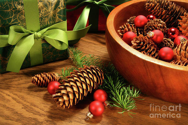 Background Poster featuring the photograph Pine Cones And Christmas Balls by Sandra Cunningham