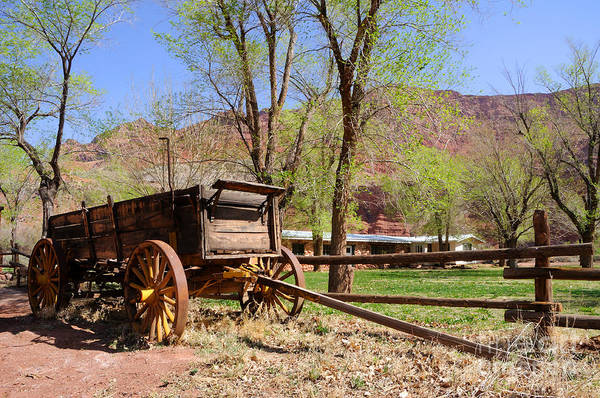 Blue Poster featuring the photograph Rustic Wagon At Historic Lonely Dell Ranch - Arizona by Gary Whitton