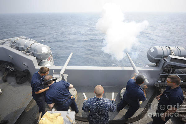 Weapon Poster featuring the photograph Sailors Perform A 21-gun Salute Aboard by Stocktrek Images