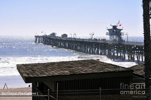 Clay Poster featuring the photograph San Clemente Pier California by Clayton Bruster