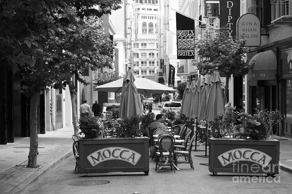 Black And White Poster featuring the photograph San Francisco - Maiden Lane - Outdoor Lunch At Mocca Cafe - 5d17932 - Black And White by Wingsdomain Art and Photography