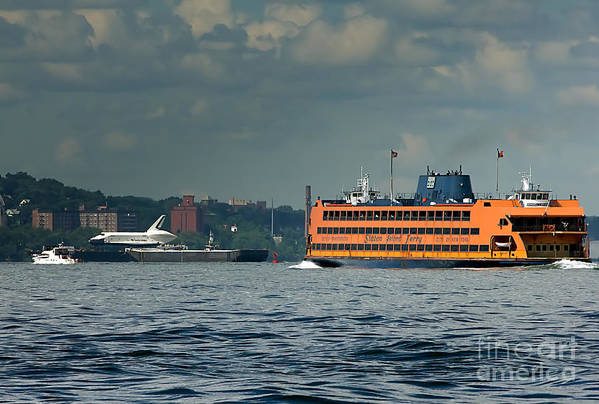 Space Shuttle Poster featuring the photograph Shuttle Enterprise Glides Past Staten Island Ferry by Tom Callan