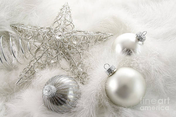Background Poster featuring the photograph Silver Holiday Ornaments In Feathers by Sandra Cunningham