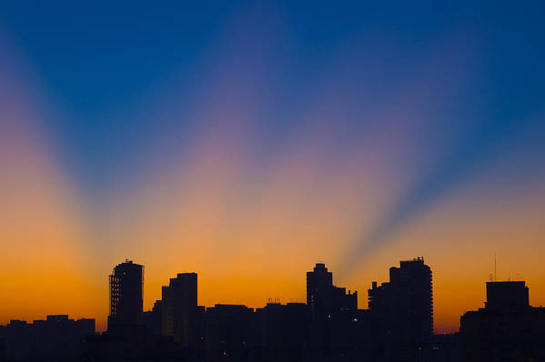Horizontal Poster featuring the photograph São Paulo City Dawning by Flavio Coelho