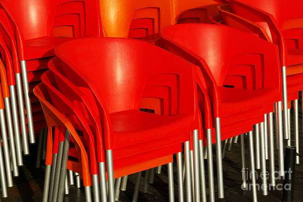 Bar Poster featuring the photograph Stacked Chairs by Carlos Caetano