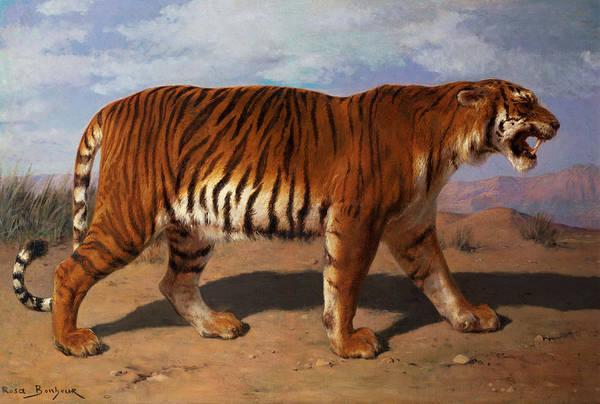 Stalking Poster featuring the painting Stalking Tiger by Rosa Bonheur