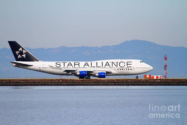 Airplane Poster featuring the photograph Star Alliance Airlines Jet Airplane At San Francisco International Airport Sfo . 7d12199 by Wingsdomain Art and Photography