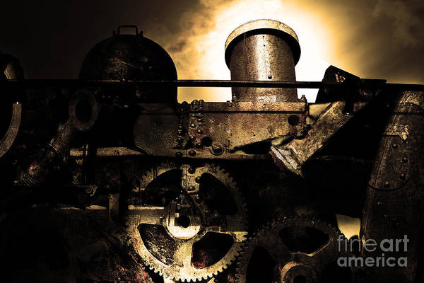 Gold Poster featuring the photograph Steampunk Railway Transcontinental Line . Where Steam Is Still King . Gold Version by Wingsdomain Art and Photography
