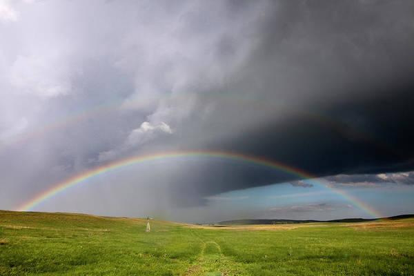 Horizontal Poster featuring the photograph Storm Rainbow Prairie by Ryan McGinnis