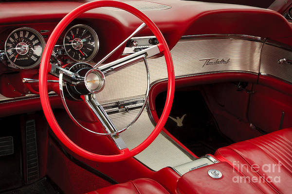 Classic Automobile Poster featuring the photograph T-bird Interior by Dennis Hedberg