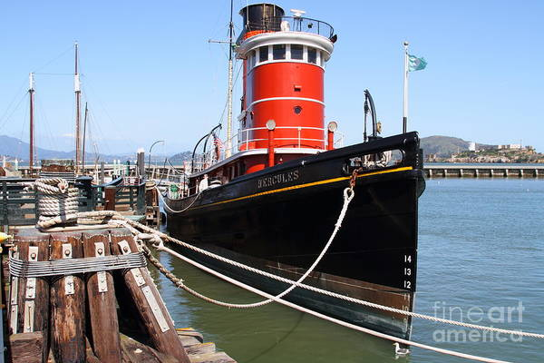 San Francisco Poster featuring the photograph The Hercules . A 1907 Steam Tug Boat At The Hyde Street Pier In San Francisco California . 7d14137 by Wingsdomain Art and Photography
