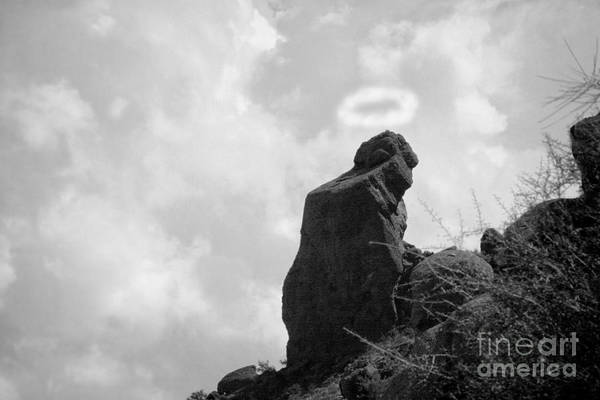 'praying Monk' Poster featuring the photograph The Praying Monk With Halo - Camelback Mountain Bw by James BO Insogna