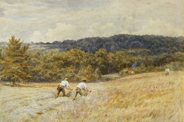 Reaper; Reaping; Farming; Agriculture; Agricultural; Harvest; Harvesting; Corn; C19th; C20th; Male; Worker; Workers; Farm;l Abourers; Working Poster featuring the painting The Reapers by Helen Allingham