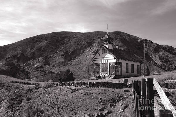 Schoolhouse Poster featuring the photograph The Schoolhouse In Calico Ghost Town California by Susanne Van Hulst