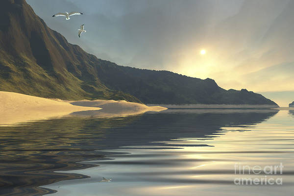 Seagull Poster featuring the digital art The Sun Sets On A Beautiful by Corey Ford