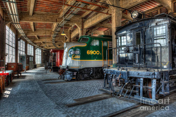 Trains Poster featuring the photograph Trains - Engines Railcars Caboose In The Roundhouse by Dan Carmichael