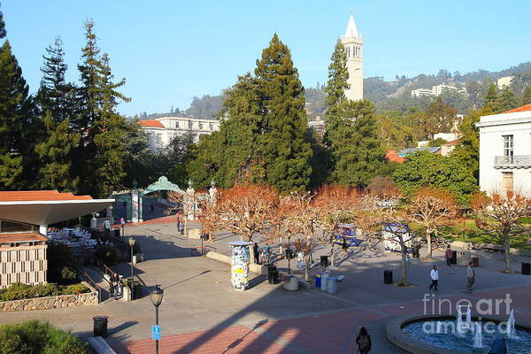 Sproul Plaza Poster featuring the photograph Uc Berkeley . Sproul Hall . Sproul Plaza . Sather Gate And Sather Tower Campanile . 7d10016 by Wingsdomain Art and Photography