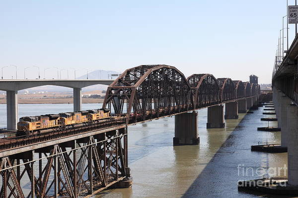 Transportation Poster featuring the photograph Union Pacific Locomotive Trains Riding Atop The Old Benicia-martinez Train Bridge . 5d18849 by Wingsdomain Art and Photography