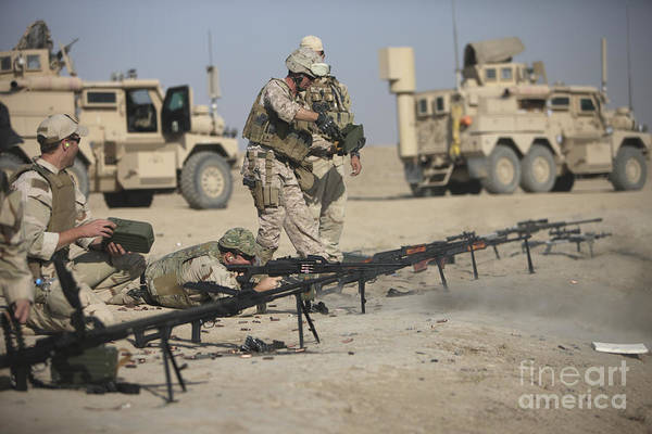 Operation Enduring Freedom Poster featuring the photograph U.s. Soldiers Prepare To Fire Weapons by Terry Moore