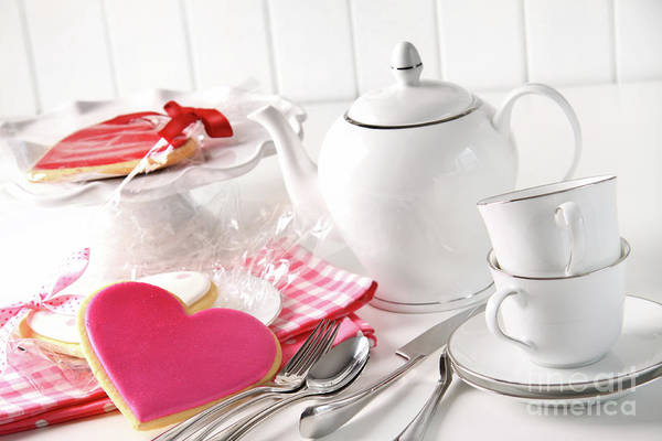 Anniversary Poster featuring the photograph Valentine Cookies With Teapot And Cups by Sandra Cunningham