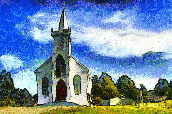 Church Poster featuring the photograph Van Gogh.s Church On The Hill 7d12437 by Wingsdomain Art and Photography