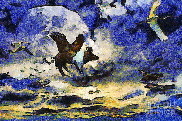 Animal Poster featuring the photograph Van Gogh.s Flying Pig 2 by Wingsdomain Art and Photography