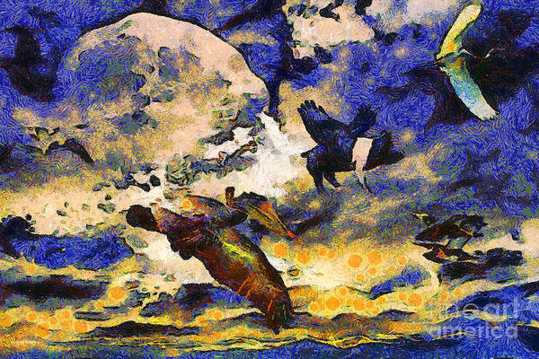 Animal Poster featuring the photograph Van Gogh.s Flying Pig by Wingsdomain Art and Photography