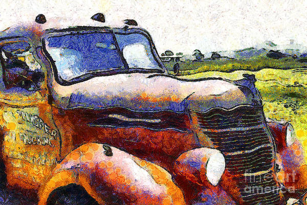 Transportation Poster featuring the photograph Van Gogh.s Rusty Old Truck . 7d15509 by Wingsdomain Art and Photography
