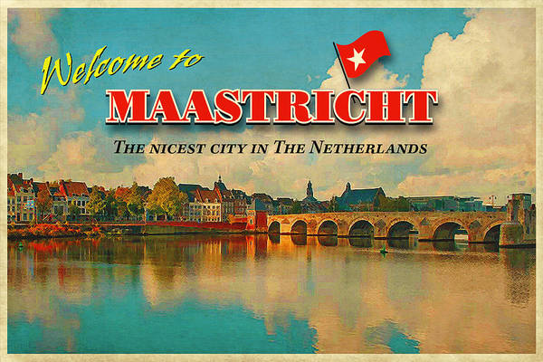Vintage Card Poster featuring the photograph Welcome To Maastricht by Nop Briex