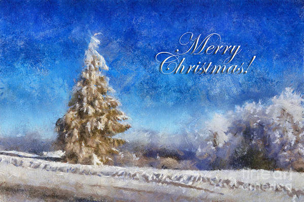 Merry Christmas Poster featuring the digital art Wintry Christmas Tree Greeting Card by Lois Bryan