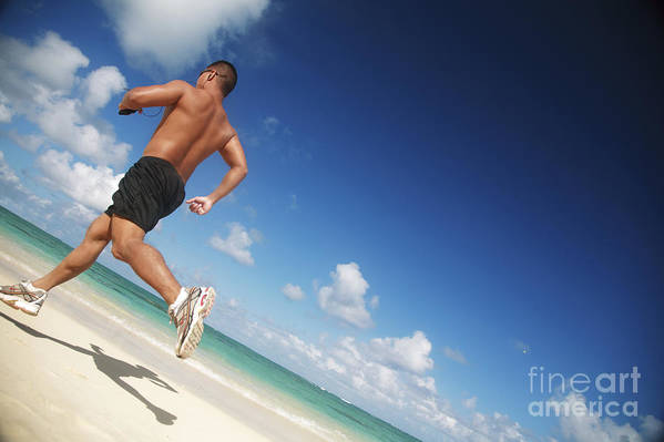 Athlete Poster featuring the photograph Male Beach Runner by Brandon Tabiolo - Printscapes