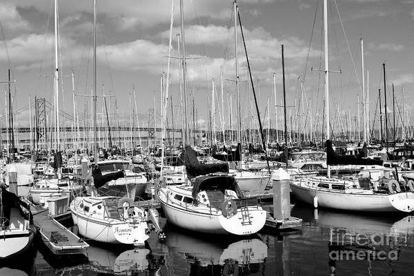 Black And White Poster featuring the photograph Sail Boats At San Francisco China Basin Pier 42 With The Bay Bridge In The Background . 7d7666 by Wingsdomain Art and Photography