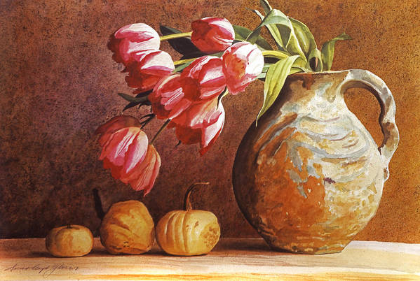 Tulips Poster featuring the painting Tulips And Squash by David Lloyd Glover
