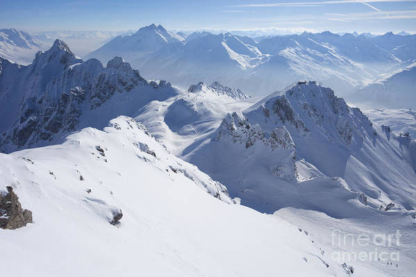 View Poster featuring the photograph View From Summit Of Valluga, St Saint Anton Am Arlberg Austria by Peter Barritt