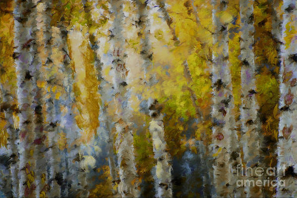 Aspens Poster featuring the mixed media Yellow Aspens by Marilyn Sholin