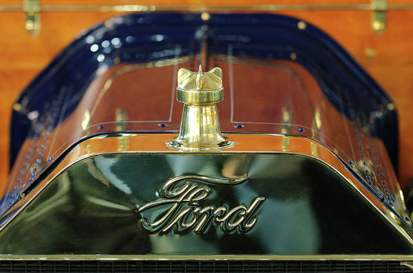 1911 Ford Model T Runabout Poster featuring the photograph 1911 Ford Model T Runabout Hood Ornament by Jill Reger