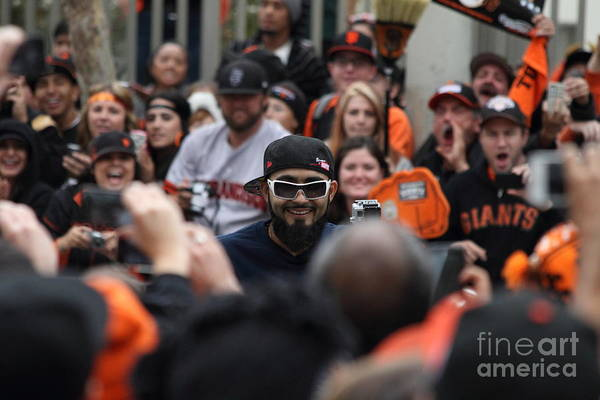 Sport Poster featuring the photograph 2012 San Francisco Giants World Series Champions Parade - Sergio Romo - Dpp0007 by Wingsdomain Art and Photography