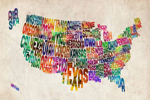 Usa Map Poster featuring the digital art United States Text Map by Michael Tompsett