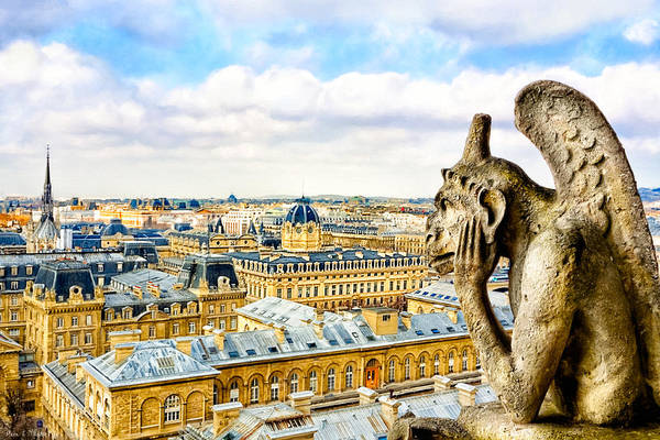Notre Dame Poster featuring the photograph A Bored Gargoyle Sees Paris by Mark E Tisdale