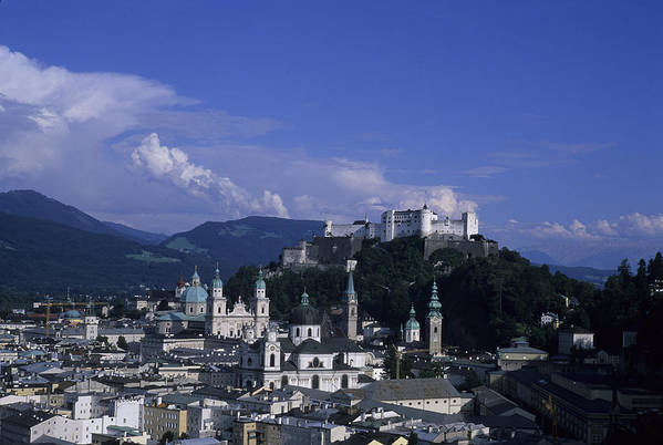 Salzburg Poster featuring the photograph A View Of The City Of Salzburg From An by Taylor S. Kennedy
