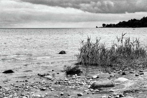 Lake Huron Poster featuring the photograph Along Lake Huron Cloudy Day by Mary Bedy
