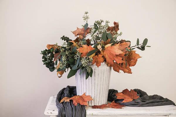 Leave Poster featuring the photograph Autumn Arrangement by Kim Hojnacki