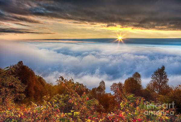 Fall Colors Poster featuring the photograph Autumn Sunrise On Cloud Tops by Dan Carmichael
