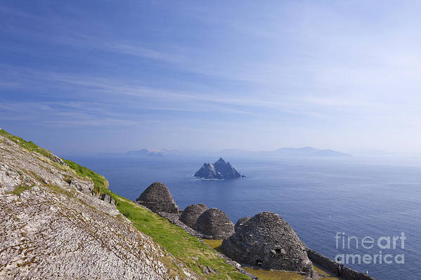 Beehive Poster featuring the photograph Beehive Stone Huts, Skellig Michael County Kerry Ireland by Peter Barritt
