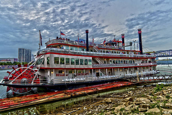 Paddle Boat Belle Of Cincinnati Ohio Hdr River Era Red White Poster featuring the photograph Belle Of Cincinnati by Keith Allen