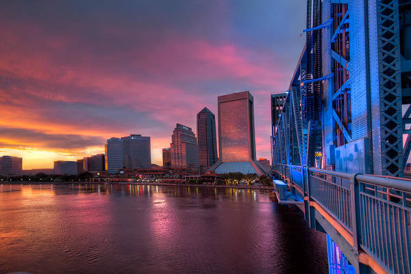 Clouds Poster featuring the photograph Blue Bridge Red Sky Jacksonville Skyline by Debra and Dave Vanderlaan