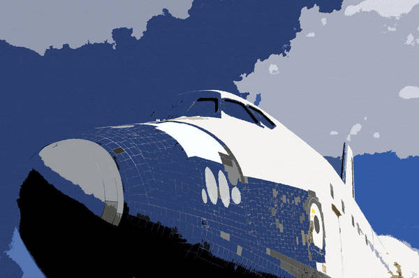 Art Poster featuring the painting Blue Sky Shuttle by David Lee Thompson