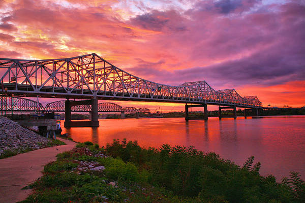 Bridge Poster featuring the photograph Bridges At Sunrise II by Steven Ainsworth