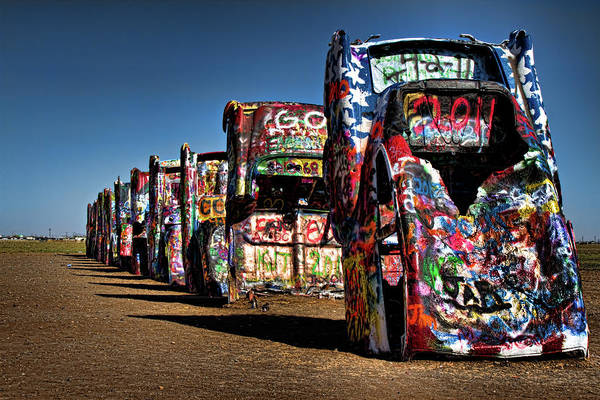 Amarillo Poster featuring the photograph Cadillac Ranch by Lana Trussell